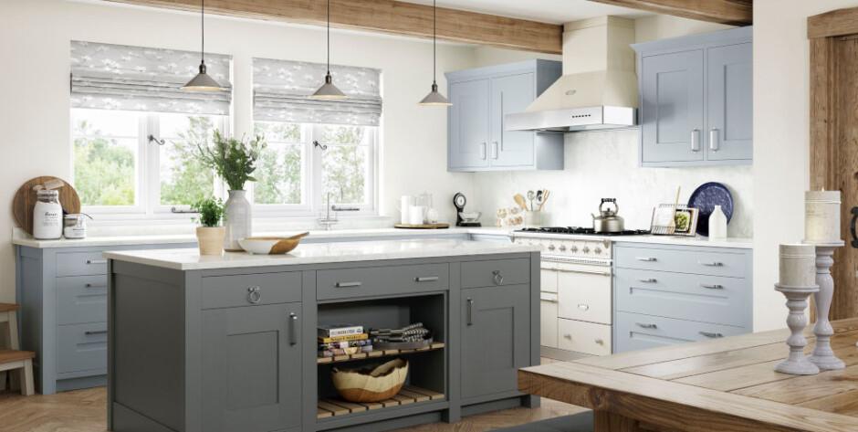 Clonmel Pantry Blue and Gun Metal Grey kitchen