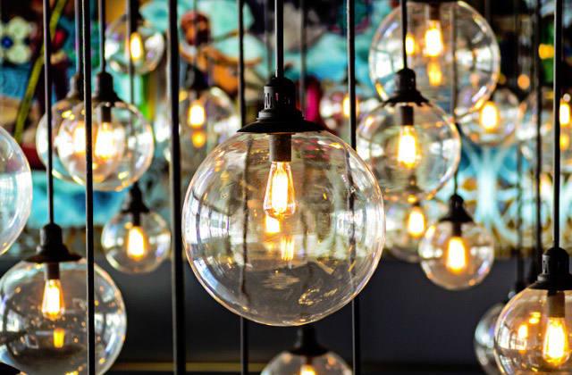 Closeup Image of Vintage Style Lightbulbs