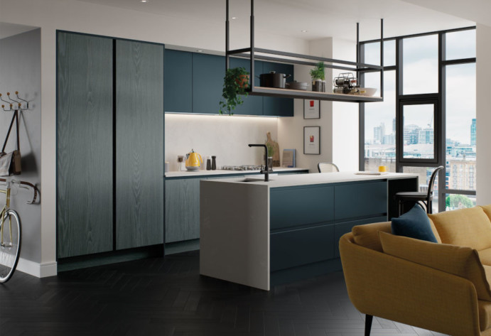 Kelso Pacific Blue and Zola Matte Marine Kitchen