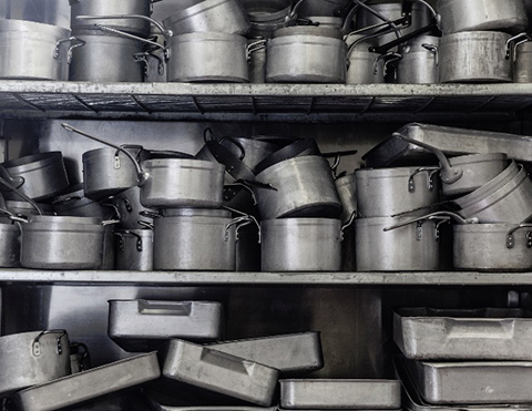 Lots of Pans on Shelves