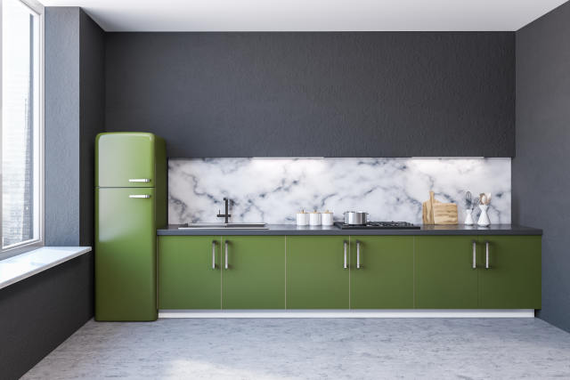Kitchen interior, green countertops