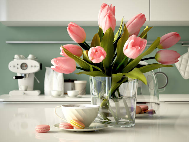 Nice flowers in the kitchen