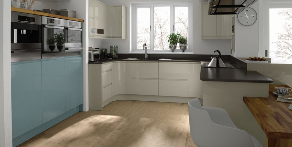 Remo Gloss Almond and Chalk Blue Kitchen