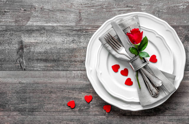Valentines day table place setting image