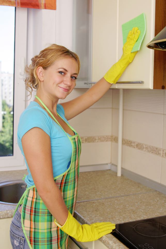 Woman Cleaning a Kitchen Full Length Image