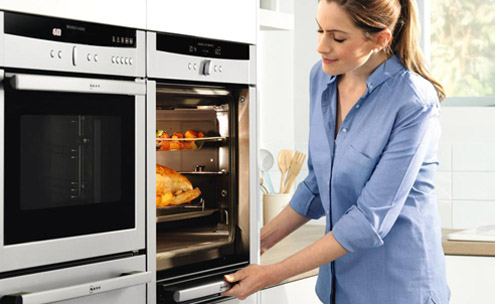 Women using an oven